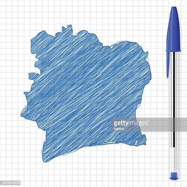 ivory coast map sketch on grid paper, blue pen - west africa stock illustrations, clip art, cartoons, & icons