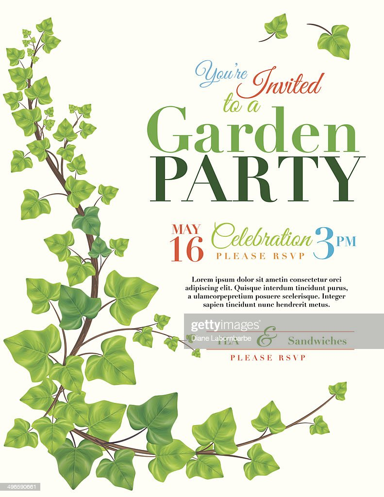 Ivy Garden Party Invitation Template Vector Art | Getty Images