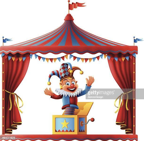 illustrations, cliparts, dessins animés et icônes de jack in the box et le cirque scène - diable à ressort