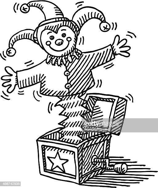 illustrations, cliparts, dessins animés et icônes de jack in the box jouet dessin - diable à ressort