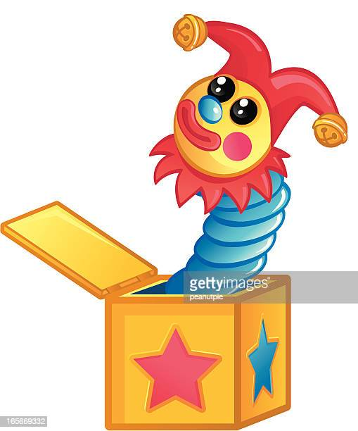 illustrations, cliparts, dessins animés et icônes de jack in the box - diable à ressort