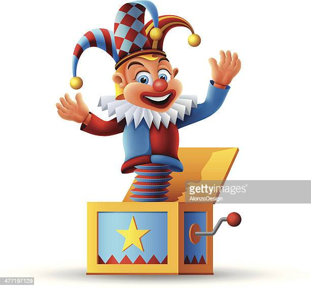 jack in the box - jester's hat stock illustrations, clip art, cartoons, & icons