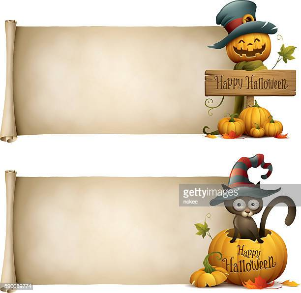 ilustraciones, imágenes clip art, dibujos animados e iconos de stock de jack o lantern and black cat witch halloween banner - sombrero de bruja