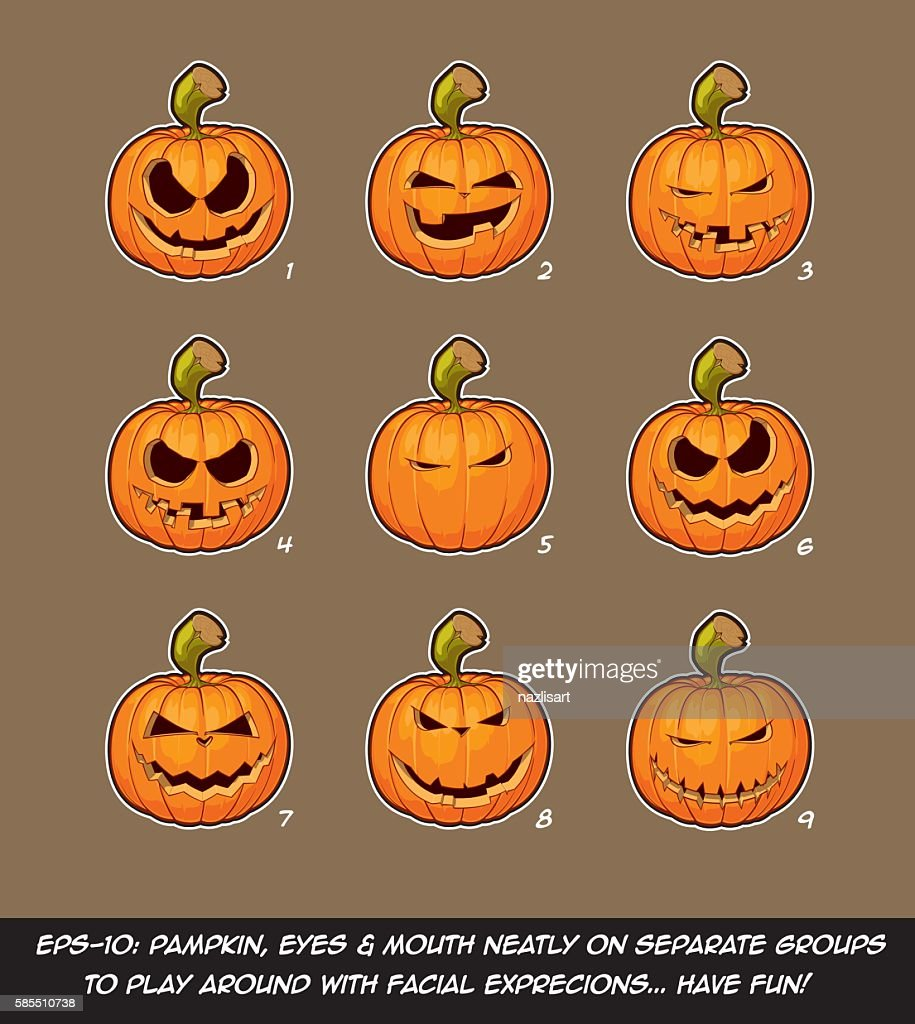 Jack O Lantern Cartoon - 9 Mean Expressions Set