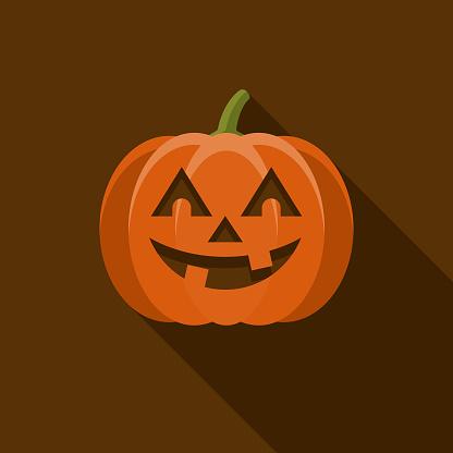 Jack O' Lantern Flat Design Halloween Icon with Side Shadow - gettyimageskorea
