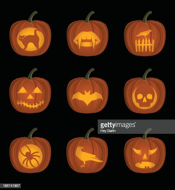 jack o' lanterns - pumpkin cats stock illustrations
