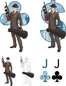 Jack of clubs mafioso with Tommy-gun Mafia card set