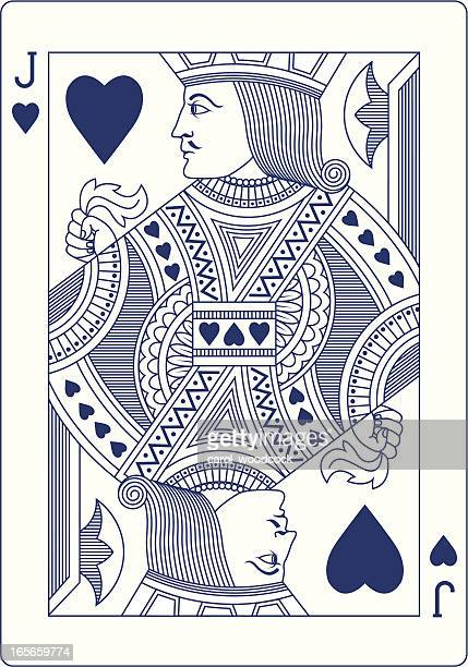 Jack of Hearts playing card in blue line