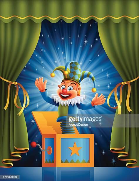 illustrations, cliparts, dessins animés et icônes de jack sur le devant de la scène - diable à ressort