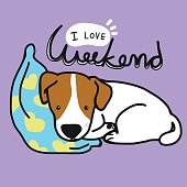 Jack russell dog is sleeping on blue pillow cartoon