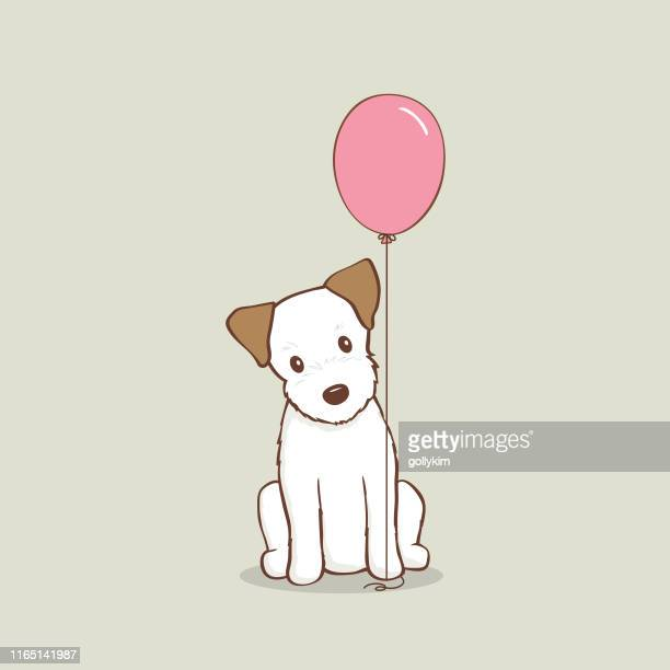 jack russell terrier puppy with pink balloon vector illustration - cute stock illustrations