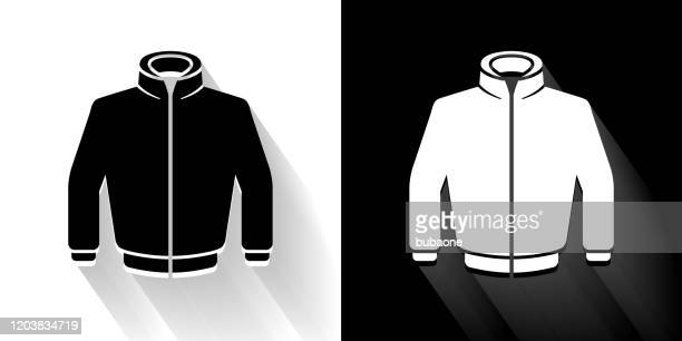jacket black and white icon with long shadow - coat stock illustrations
