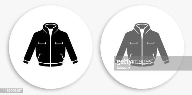 jacket black and white round icon - jacket stock illustrations