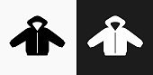 Jacket Icon on Black and White Vector Backgrounds