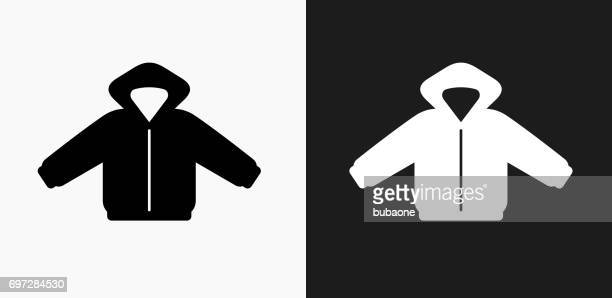 jacket icon on black and white vector backgrounds - hooded top stock illustrations