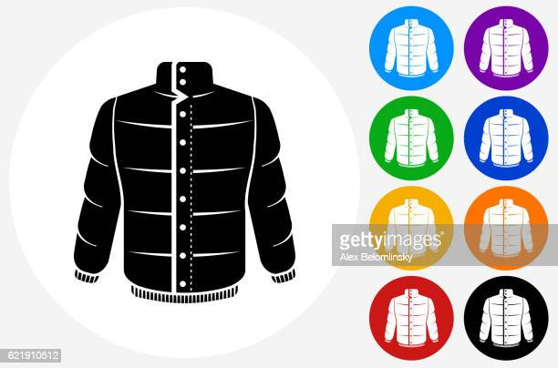 Jacket Icon on Flat Color Circle Buttons