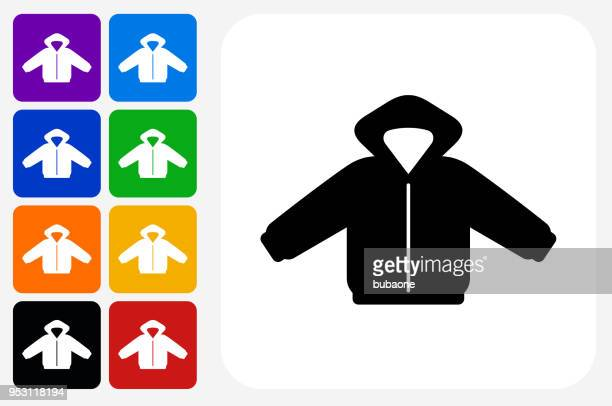 jacket icon square button set - jacket stock illustrations