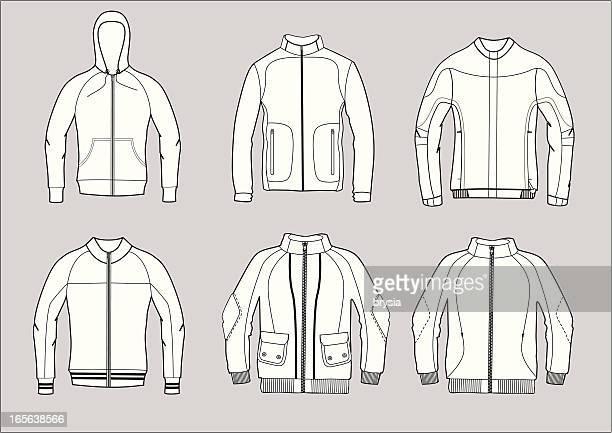 stockillustraties, clipart, cartoons en iconen met jackets - fleecejas