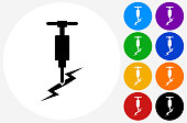 Jackhammer Icon on Flat Color Circle Buttons