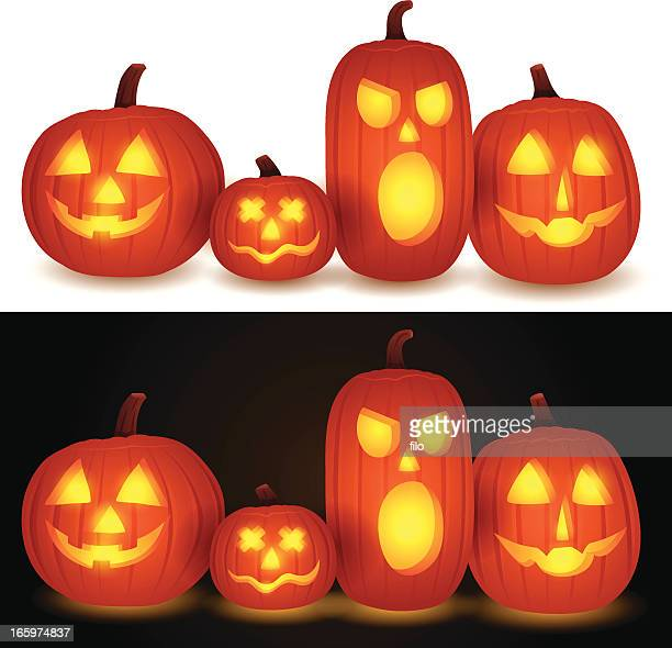 jack-o-lanterns - igniting stock illustrations