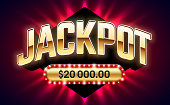 Jackpot, gambling game bright banner with winning