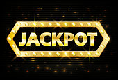 Jackpot gold casino lotto label with glowing lamps on black background. Casino jackpot winner design gamble with shining text in vintage style. Vector illustration