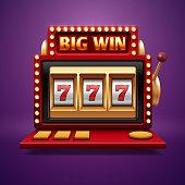 Jackpot slot casino machine. Vector one arm bandit