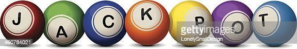 jackpot spelled using different colored balls - lottery stock illustrations