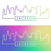 Jackson skyline. Colorful linear style. Editable vector file.