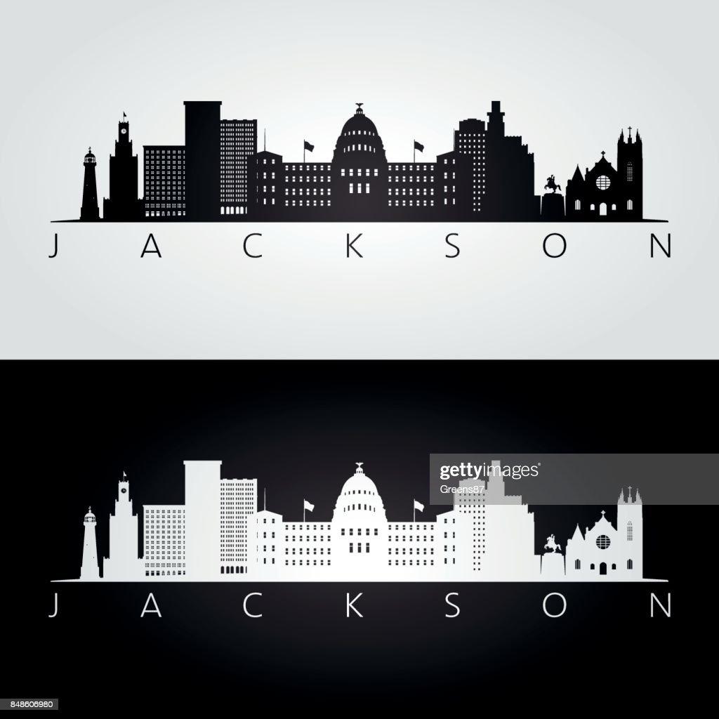 Jackson USA skyline and landmarks silhouette, black and white design, vector illustration.