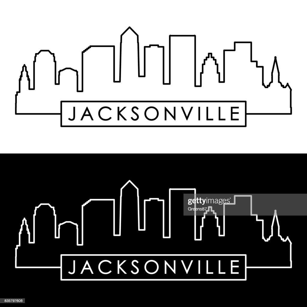 Jacksonville skyline. Linear style. Editable vector file.