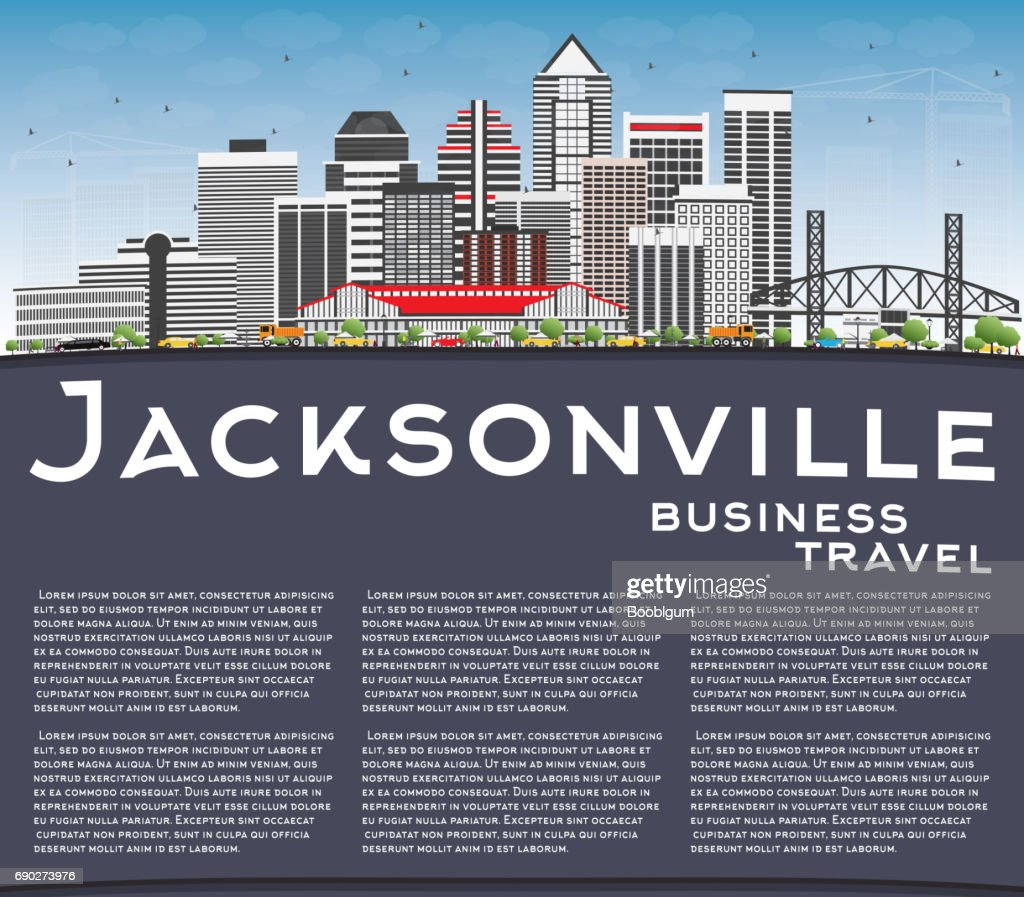 Jacksonville Skyline with Gray Buildings, Blue Sky and Copy Space.