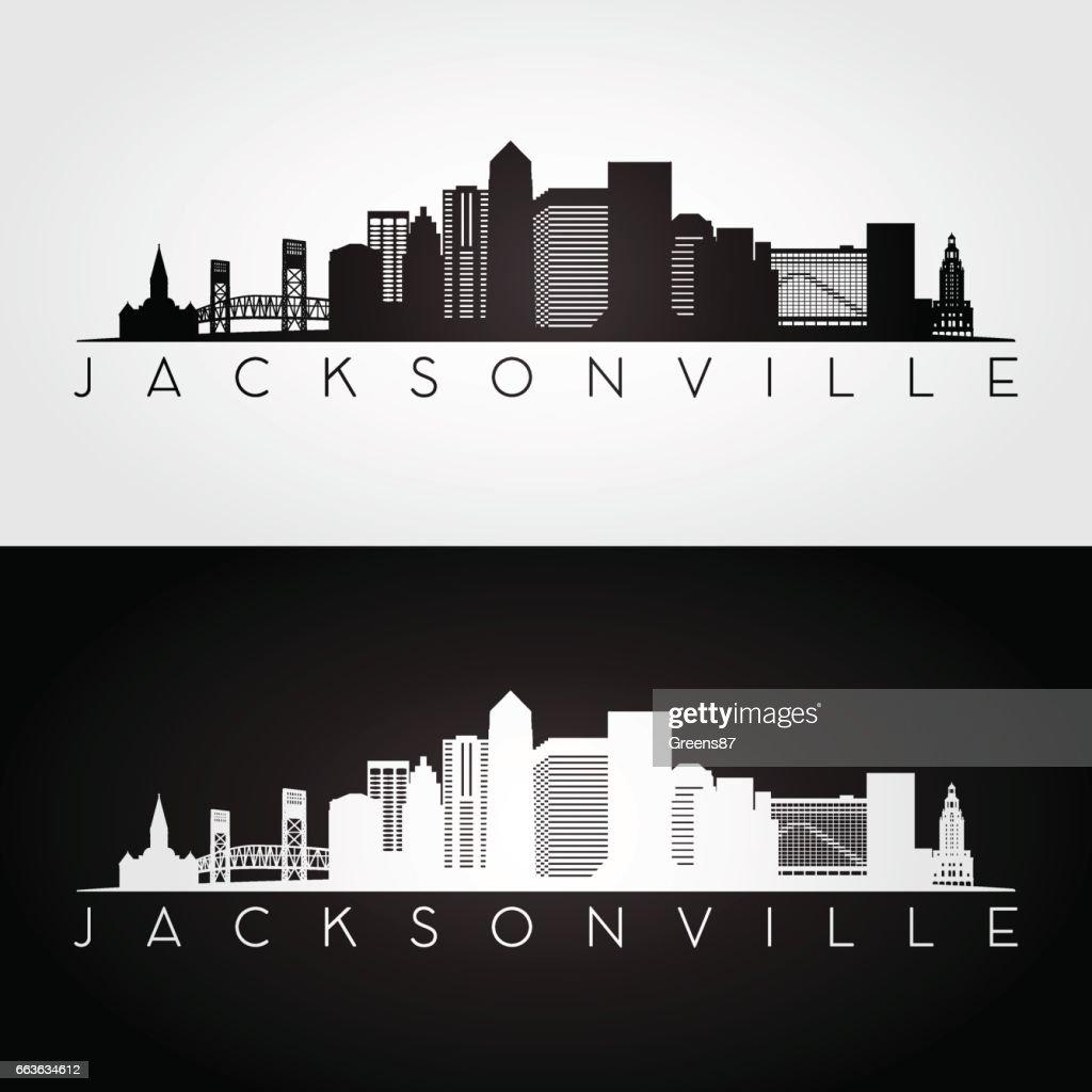 Jacksonville USA skyline and landmarks silhouette