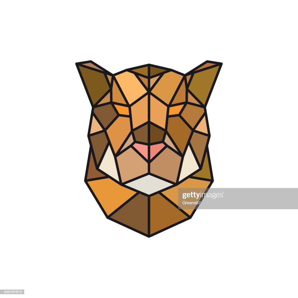 Jaguar head logo template for business. Abstract head. Colorful polygonal style. Vector illustration.