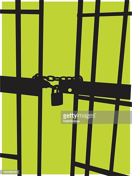 jail background - prison cell door & pad lock - prison bars stock illustrations