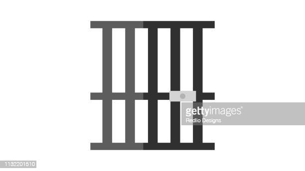 jail cells in prison illustration - cage stock illustrations, clip art, cartoons, & icons