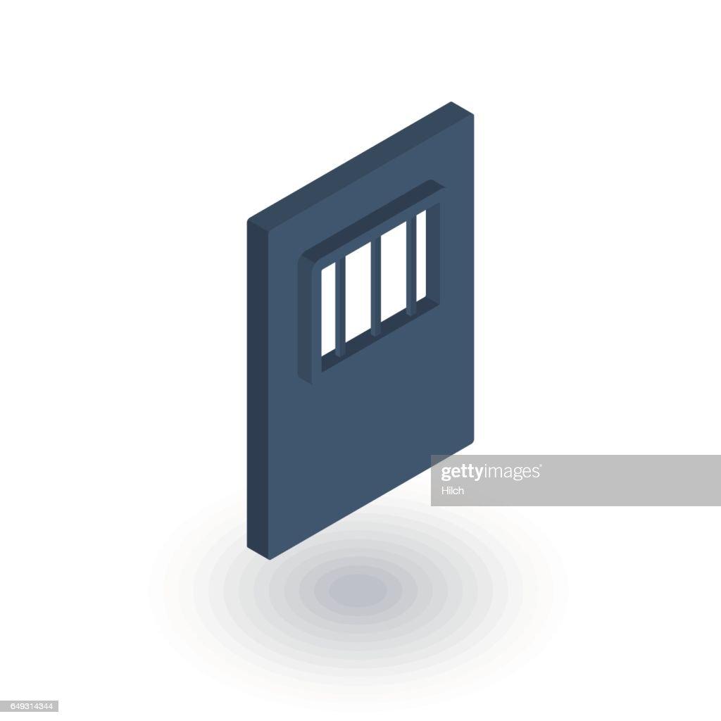 jail gate door isometric flat icon. 3d vector