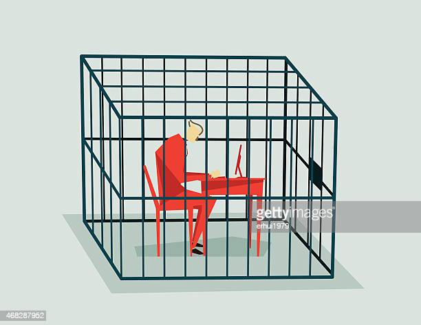 jailed-illustratio - cage stock illustrations, clip art, cartoons, & icons