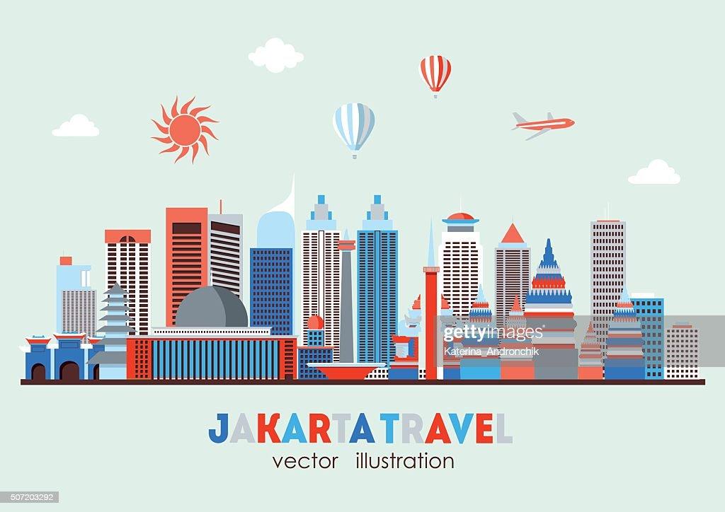 Jakarta detailed skyline. Vector illustration