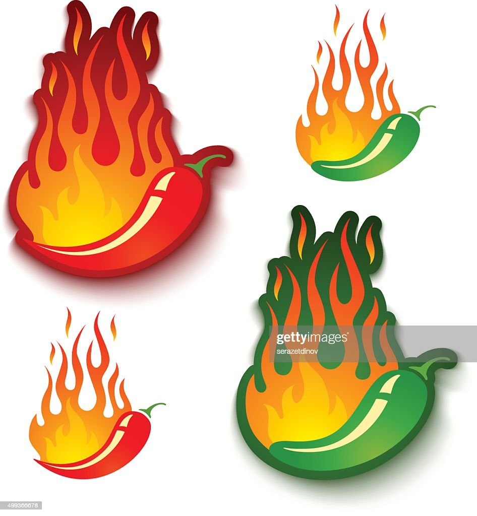 jalapeno and chili peppers in fire