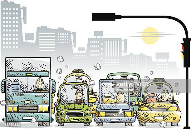 ilustraciones, imágenes clip art, dibujos animados e iconos de stock de jam de la ciudad 2 - camionero