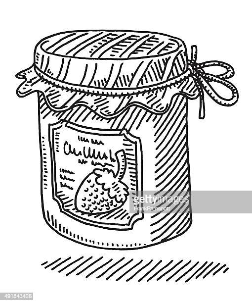 Jam Jar Food Product Drawing