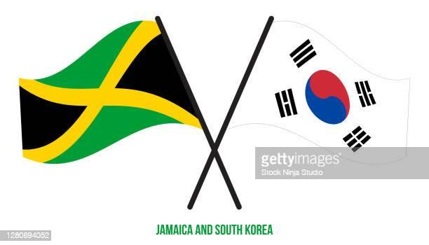 jamaica south korea flags crossed waving