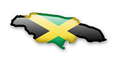 Jamaica flag and contour of the country.