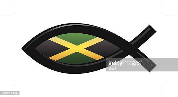 jamaica flag icthys - jamaican culture stock illustrations, clip art, cartoons, & icons