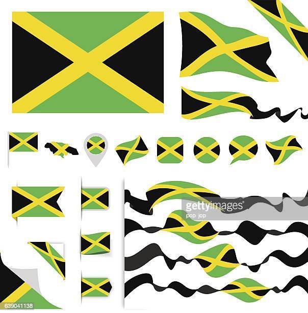 jamaica flag set - jamaican culture stock illustrations, clip art, cartoons, & icons