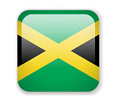 Jamaica flag. Square bright Icon on a white background