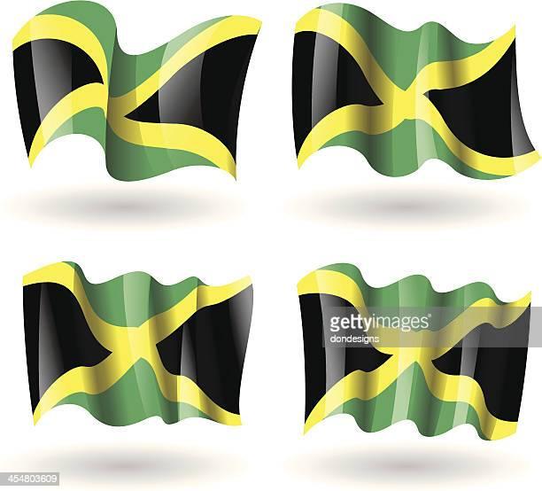 jamaica flag waving set - jamaican culture stock illustrations, clip art, cartoons, & icons