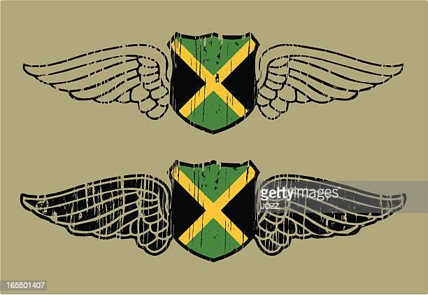 jamaica flying shield - jamaican culture stock illustrations, clip art, cartoons, & icons