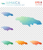 Jamaica geometric polygonal maps, mosaic style country collection.